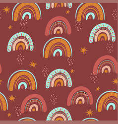 seamless rainbow pattern in boho style graphics vector image