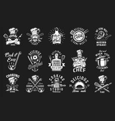 set cooking emblem vector image