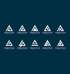 Set initial letter a logo mono line vector