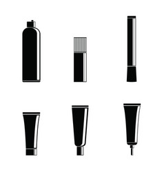 set of silhouettes of cans and cosmetics tubes on vector image