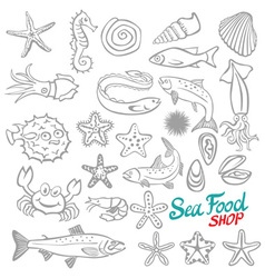Set of sketch sea food vector