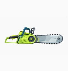 side view green chainsaw realistic on white vector image