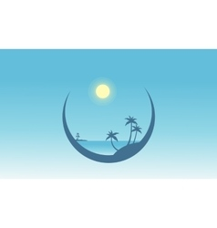 Silhouette of palm in beach scenery vector