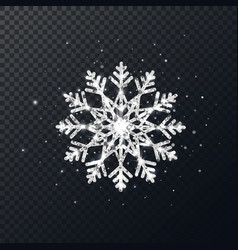 Silver glitter snowflake on transparent background vector