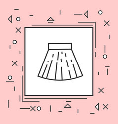 skirt mini icon thin line in pink frame vector image