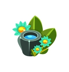 Small water bowl and flowers isometric garden vector