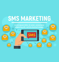 sms marketing concept banner flat style vector image