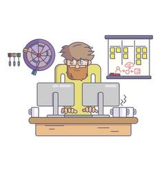 Software developer working behind desk vector