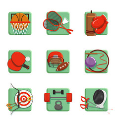 Sport icons set boxing badminton gymnastics vector