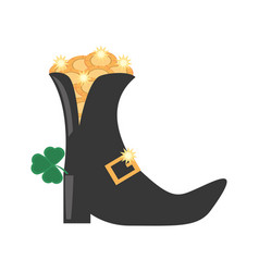 St patricks day boot clover gold coin vector