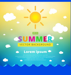 Summer blurred background with seascape sun and vector