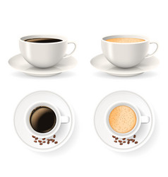Top and front views cups on saucers with coffee vector