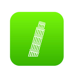 tower of pisa icon digital green vector image