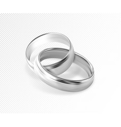 Two interlocking silver or platinum wedding rings vector