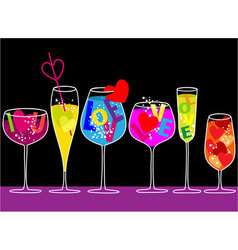 Valentine love drinks vector image