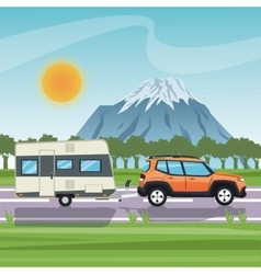Vehicle and trailer house design vector