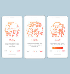 Vr game subscription onboarding mobile app page vector