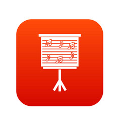 whiteboard with music notes icon digital red vector image