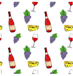 wine set grapes cheese and wine bottle hand vector image