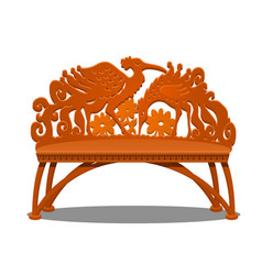 wooden carved bench in the form of fantasy birds vector image
