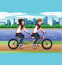 young couple riding a tandem bike vector image