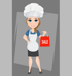 chef woman holding paper bag for sale cute vector image vector image