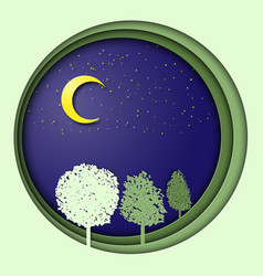 earth day 3d with trees in the night vector image vector image