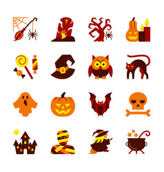 halloween icon set flat design symbol collection vector image