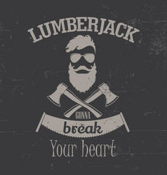 lamberjack face poster vector image vector image