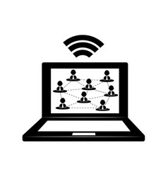 laptop connected to wifi vector image vector image