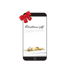modern cell smart phone with holiday bow christmas vector image vector image