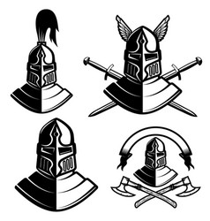 set of knight helmets with swords axes design vector image vector image