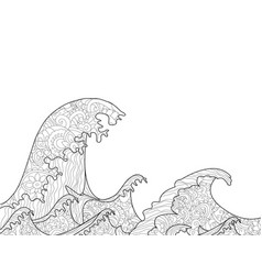 the great wave off kanagawa coloring book for vector image