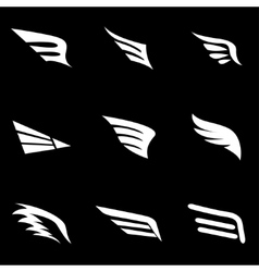 White wing icon set vector