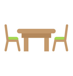 Dining table flat icon furniture and interior vector