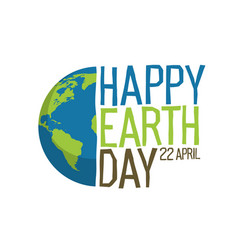 earth day logo design happy earth day 22 vector image vector image