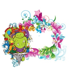 funny monsters on a floral frame vector image vector image