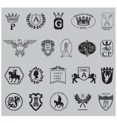 heraldry shield set vector image