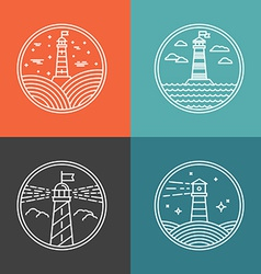 lighthouse logos vector image vector image