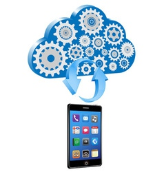 smart phone synchronize cloud vector image
