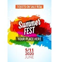 Summer festival flyer design template Summer vector image vector image