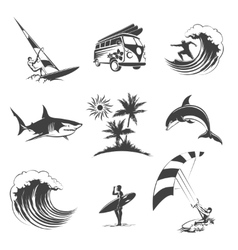 Surfing icons set vector image vector image