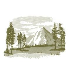Woodcut Mountain Lake Scene vector image vector image