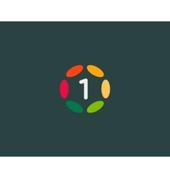 Color number 1 logo icon design hub frame vector
