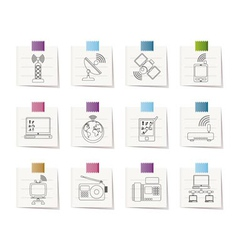 communication and technology icons vector image
