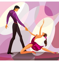 Couple dancers in romantic scene vector image vector image