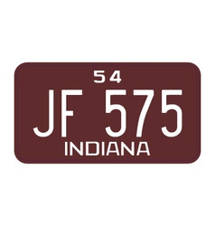Indiana 1954 license plate vector image vector image