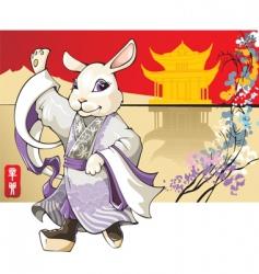rabbit chinese new year greet vector image