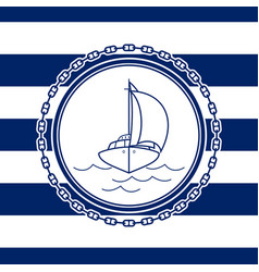 sea emblem with an yacht vector image vector image