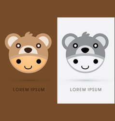 bear hat on smile child head vector image vector image